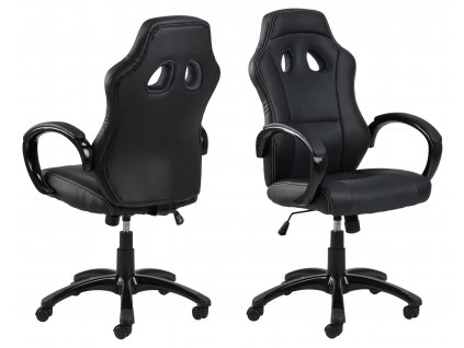 pic serv12 PhotoManagerPublicMasters Products 0000061271 race desk chair seat back mesh leatherlook grey black pu arm rest tilt base nylon black orig