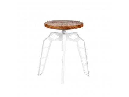 Bílá/přírodní mangová stolička Lebb