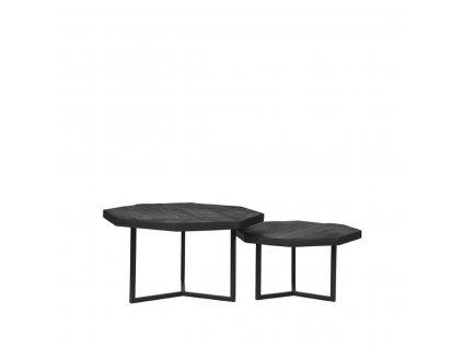 Černý mangový set 2 konferenčních stolků Guro