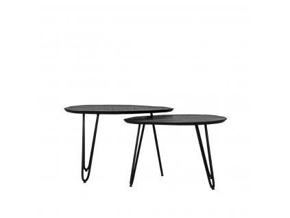 Černý mangový set 2 konferenčních stolků Suor