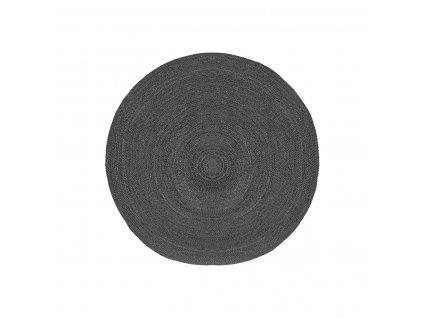 Antracitový kulatý koberec Braos L z juty, 120x120 cm