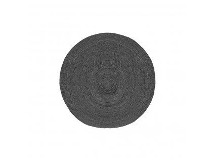 Antracitový kulatý koberec Braos M z juty, 90x90 cm