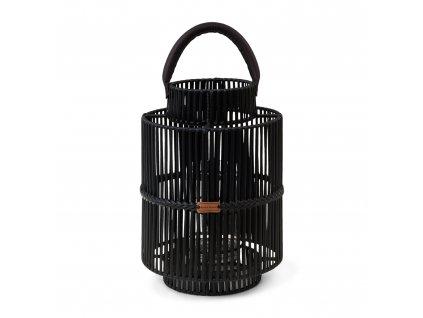 Černá ratanová lucerna Rivièra Maison Bartolome 43 cm