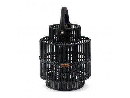 Černá ratanová lucerna Rivièra Maison Bartolome 25 cm