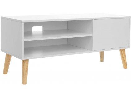 Bílý televizní stolek Vasagle Scandinavian, 110x40x49,5 cm