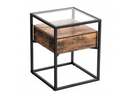 Boční stolek Vasagle Stemper, kov/masiv/sklo