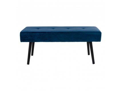 Sametová lavice Skroll tmavě modrá