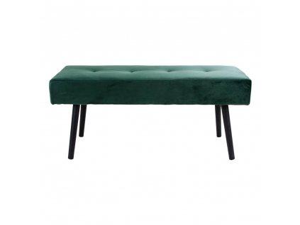 Sametová lavice Skroll tmavě zelená