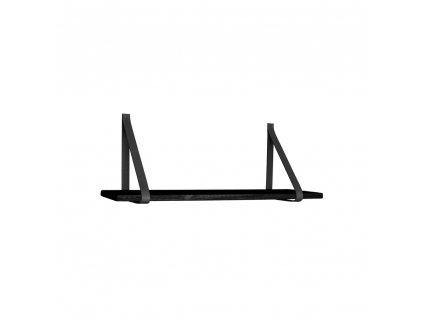 Černá police Vera s koženým zavěšením 80 cm