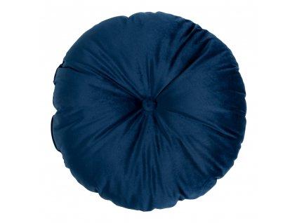 Modrý kulatý sametový polštář Lumen