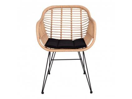 Hnědá jídelní židle Corma z umělého ratanu