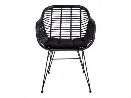Černá jídelní židle Corma z umělého ratanu