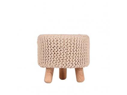 Béžová bavlněná stolička Bogo s masivními nohami