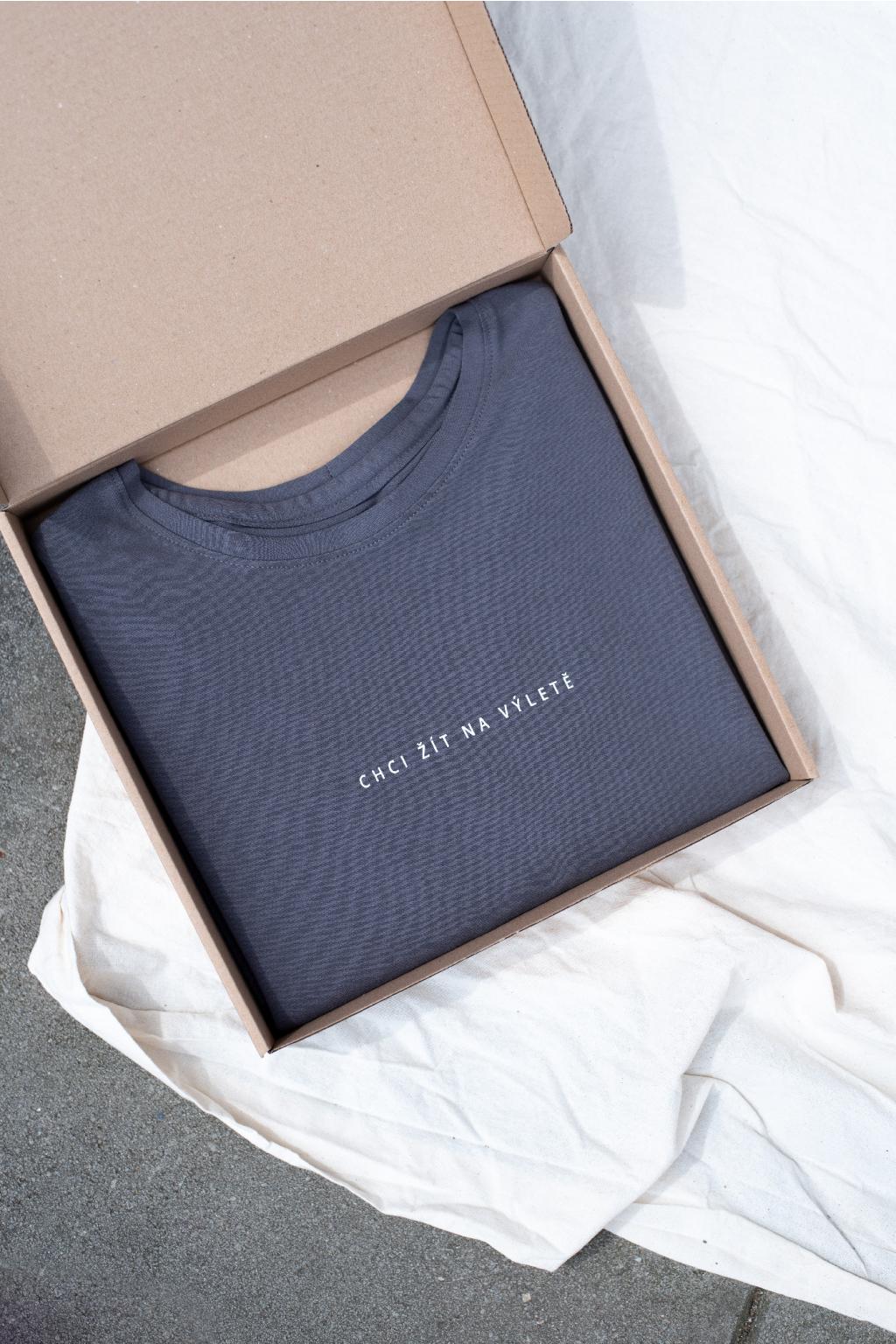 KOUSEK krátké tričko biobavlna Chci žít na výletě