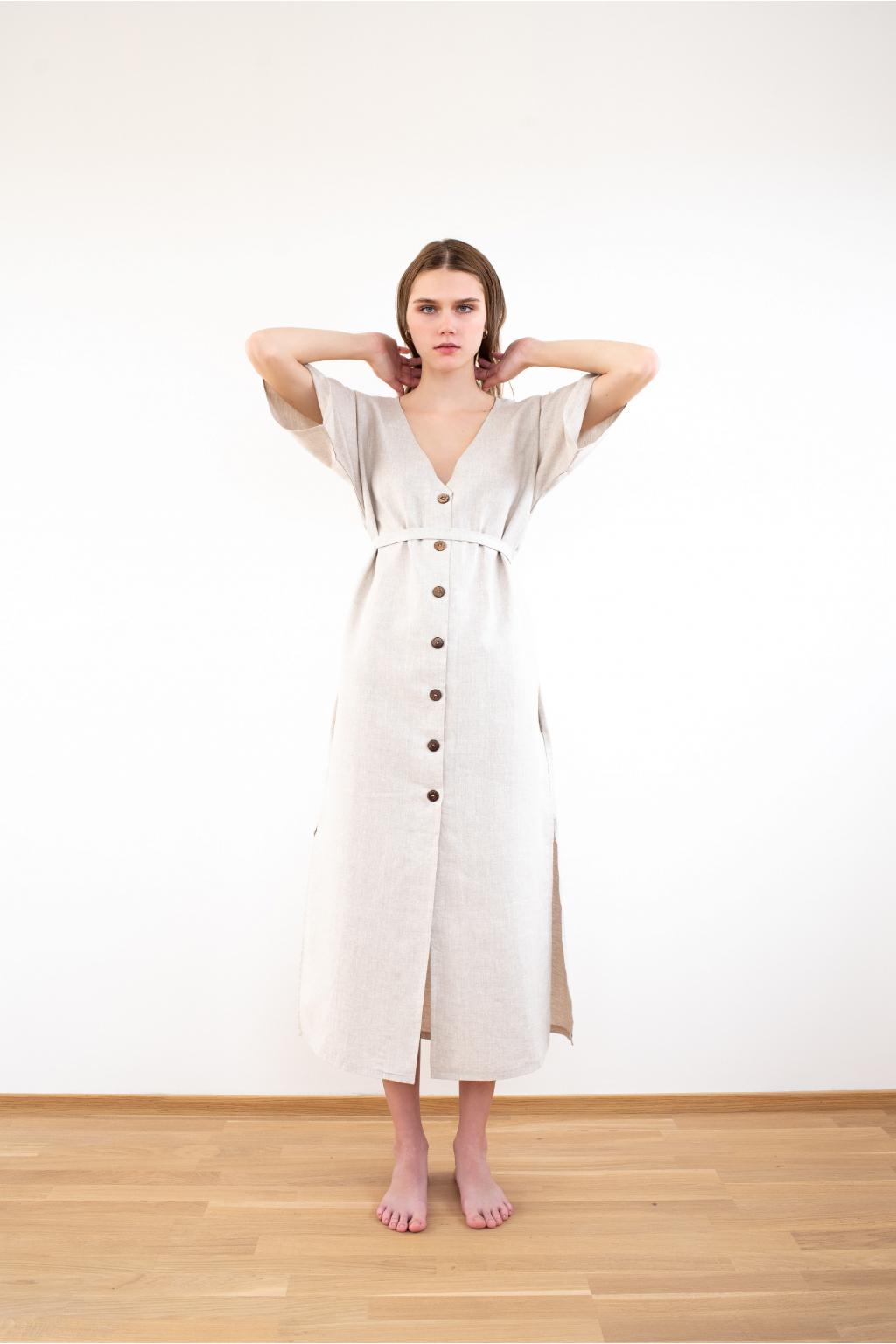 Dlouhé lněné šaty s knoflíky