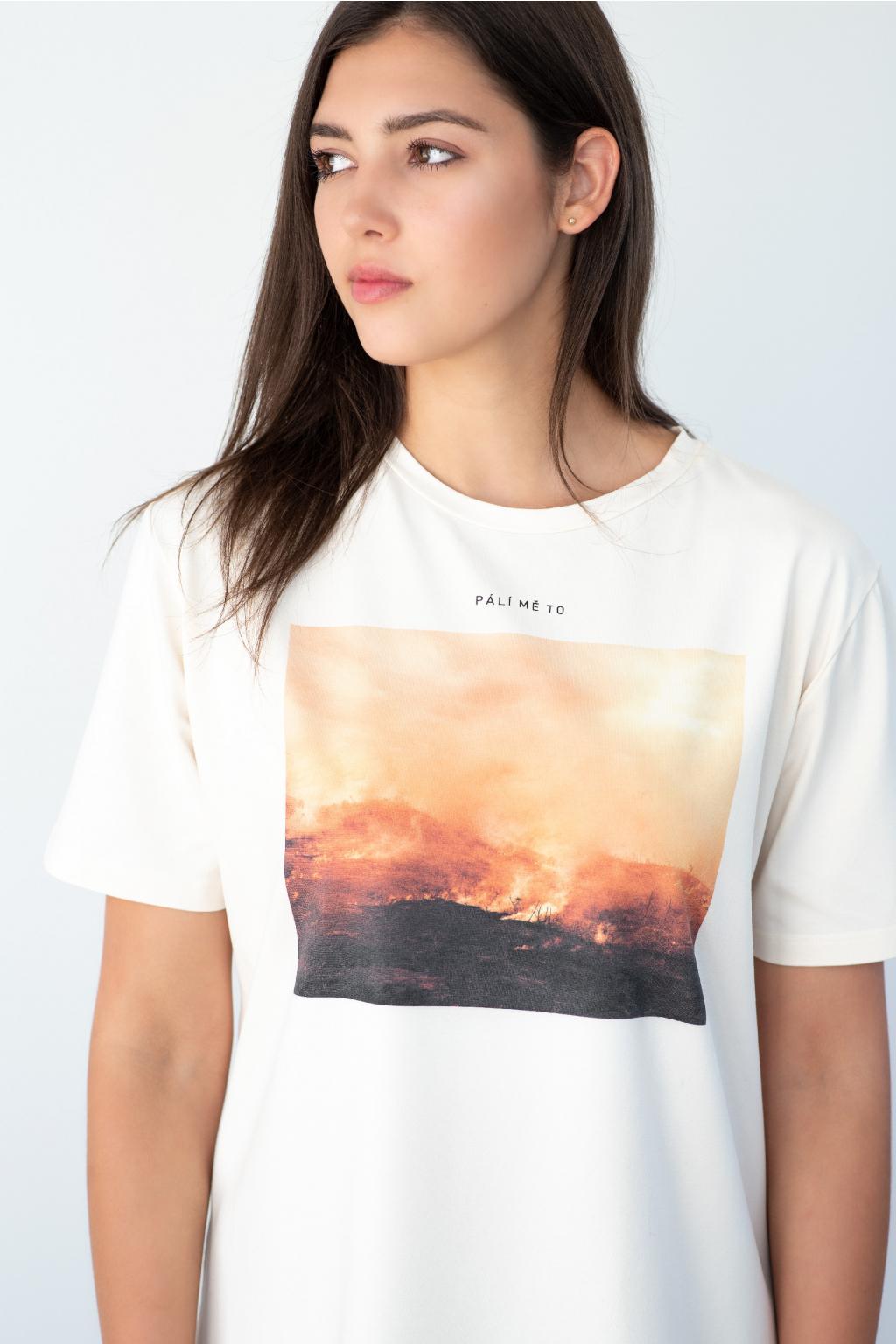 """KOUSEK tričko s pralesem biobavlna """"Pálí mě to"""""""