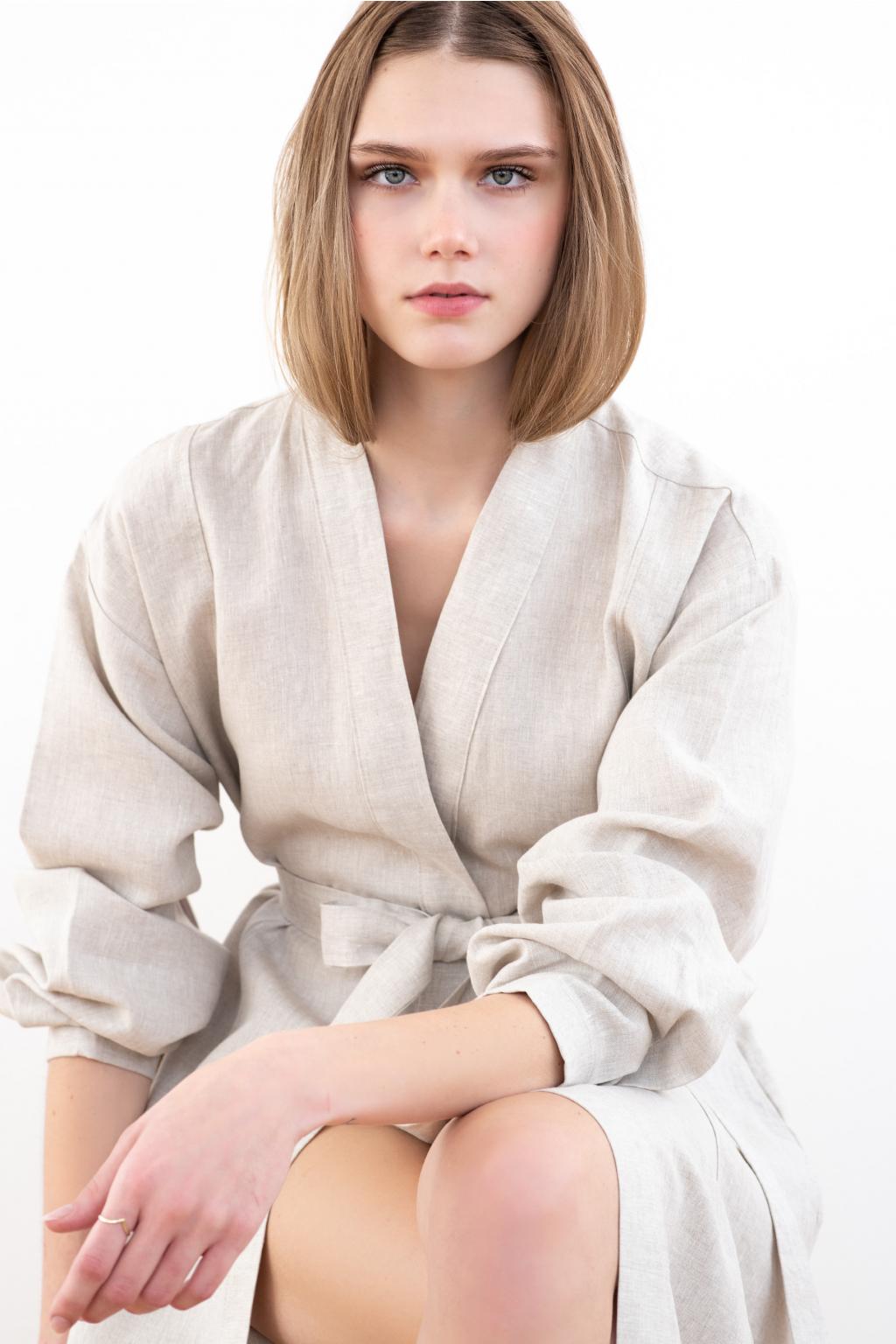 KOUSEK dlouhé lněné šaty kimono