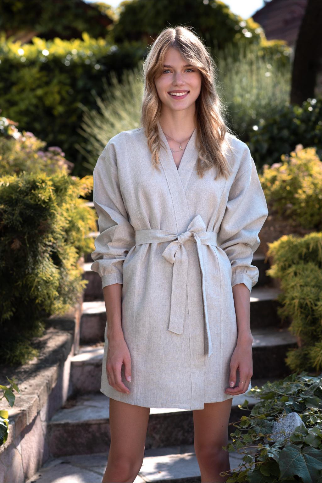 """KOUSEK krátké lněné šaty """"kimono"""""""