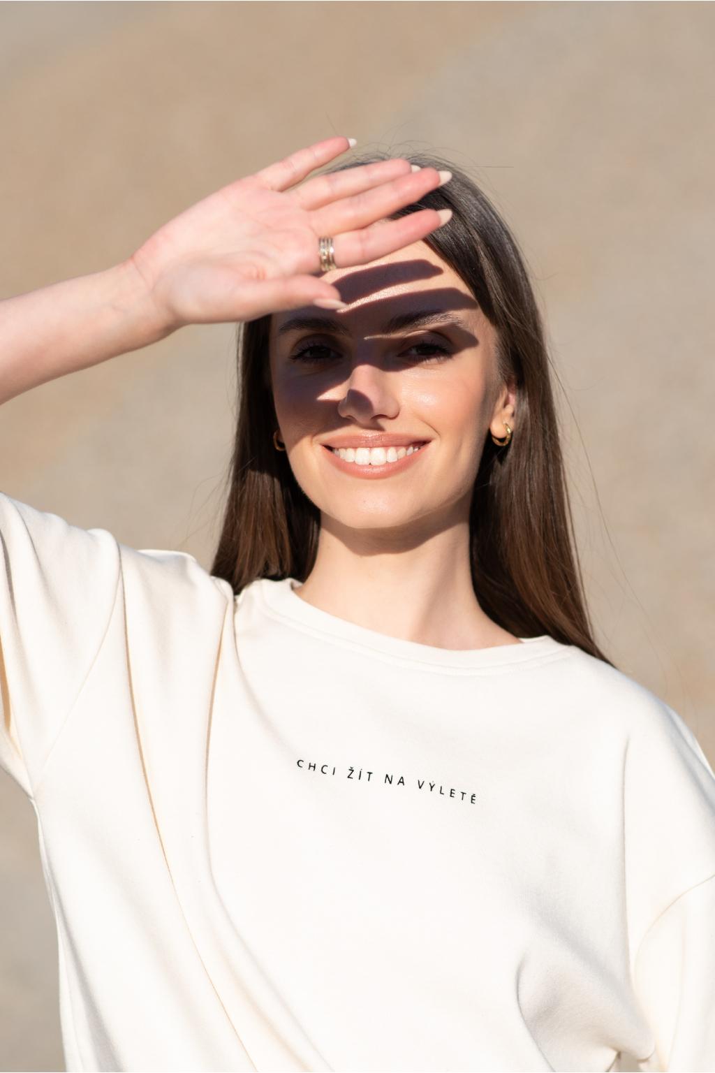 KOUSEK tričko biobavlna vrstevnice tričko Chci žít na výletě