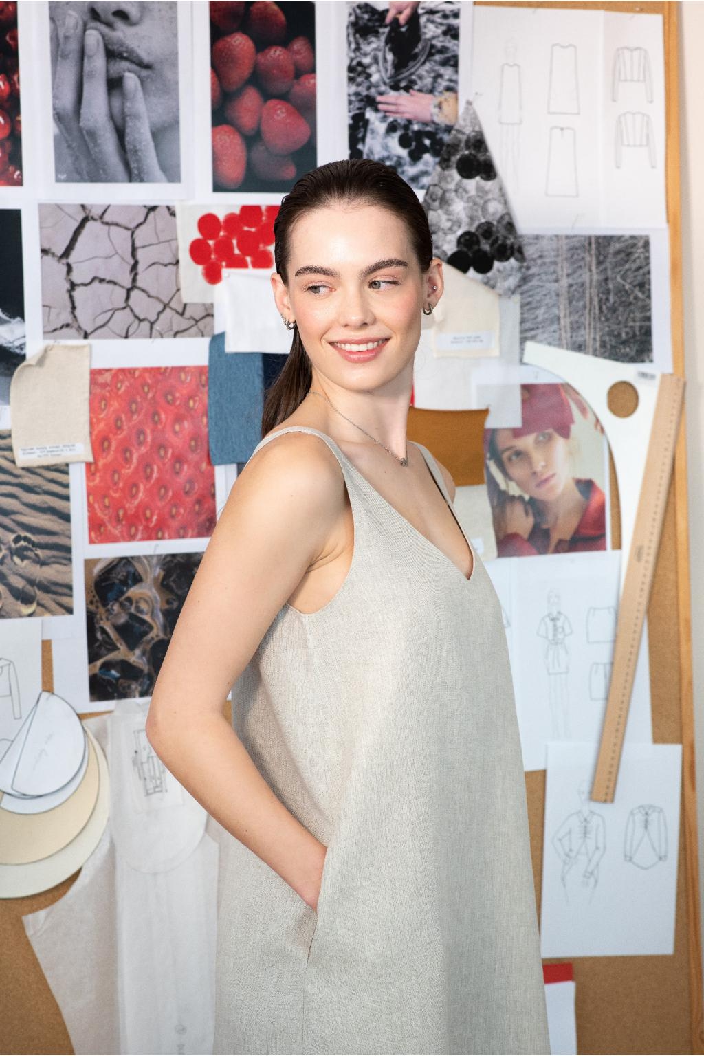 KOUSEK lněné midi šaty