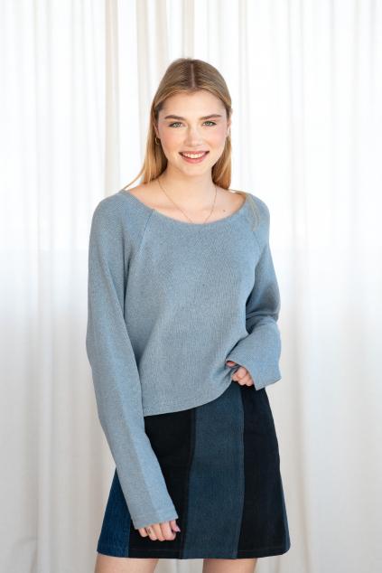 KOUSEK džínový svetr recyklovaná bavlna