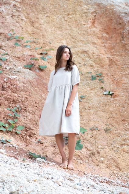 KOUSEK krátké lněné šaty