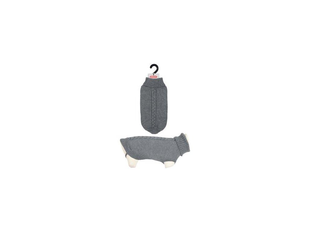 Svetr s rolákem pro psy ALLURE šedá 40cm Zolux
