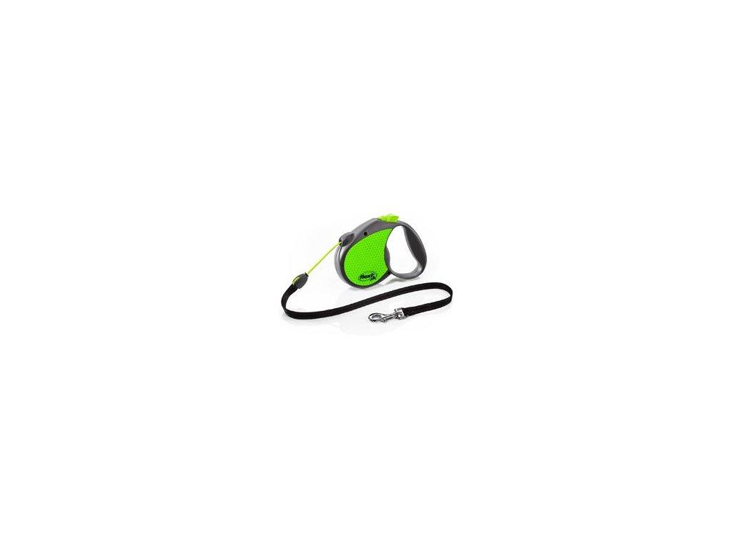 Vodítko FLEXI Neon Reflect Lanko M 5m/20kg zelená