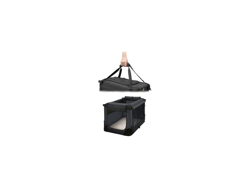 Přepravka MAELSON pro psy nylon černá XL/92x64x64cm