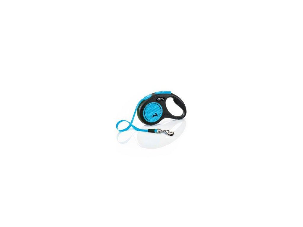 Vodítko FLEXI Neon S pásek 5m/15kg černá/modrá NEW
