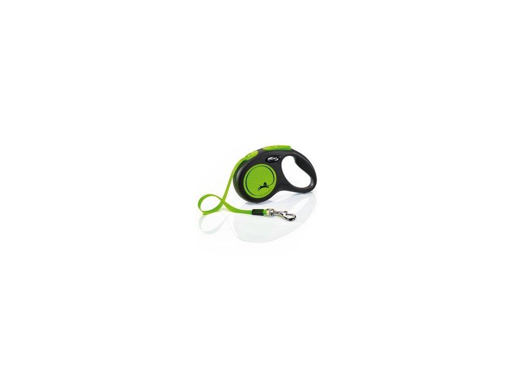 Vodítko FLEXI Neon S pásek 5m/15kg černá/zelená NEW