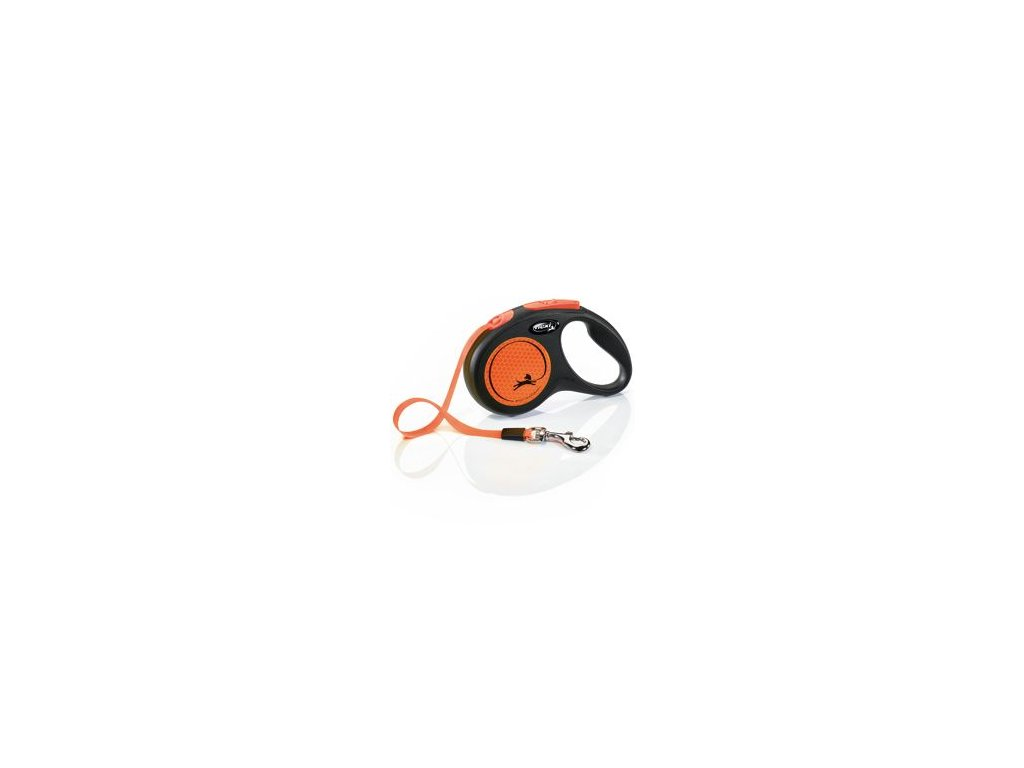 Vodítko FLEXI Neon S pásek 5m/15kg černá/oranžová NEW