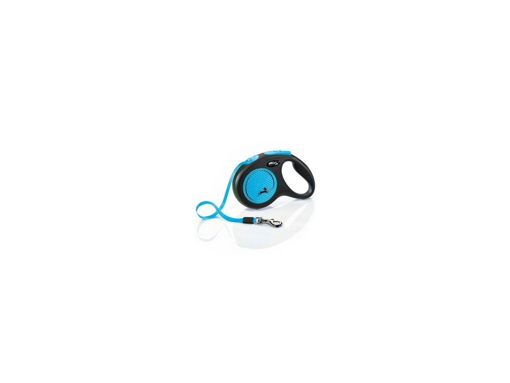 Vodítko FLEXI Neon M pásek 5m/25kg černá/modrá NEW