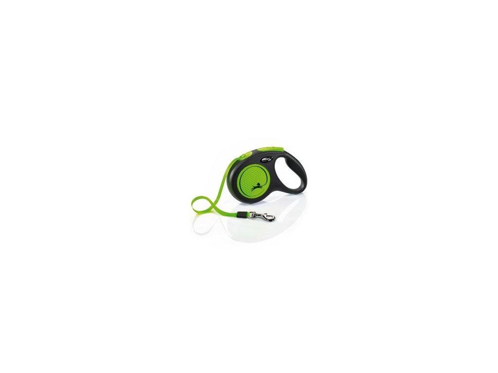 Vodítko FLEXI Neon M pásek 5m/25kg černá/zelená NEW