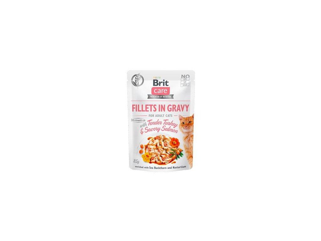 Brit Care Cat Fillets in Gravy Turkey&Salmon 85g