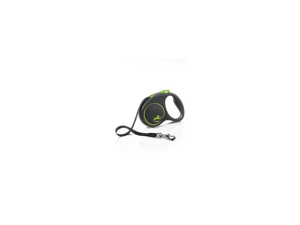 Vodítko FLEXI Black Design S pásek 5m/15kg zelená NEW