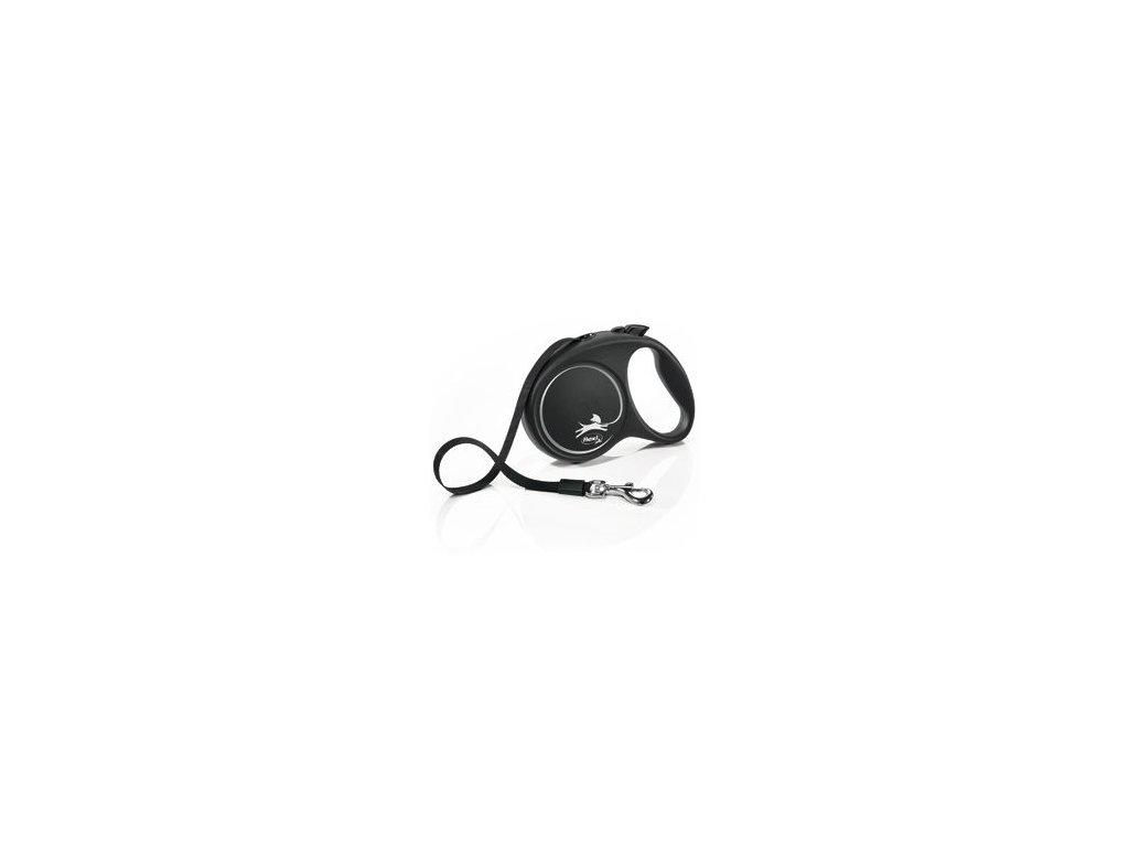 Vodítko FLEXI Black Design M pásek 5m/25kg stříbrnáNEW