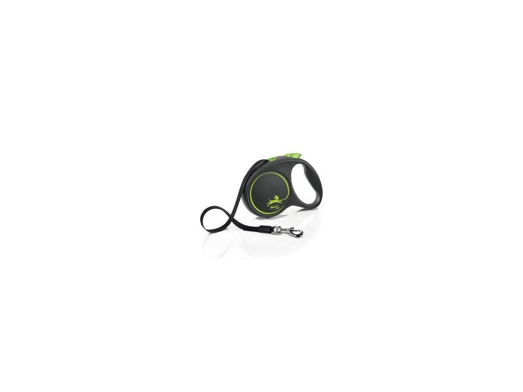 Vodítko FLEXI Black Design L pásek 5m/50kg zelená NEW
