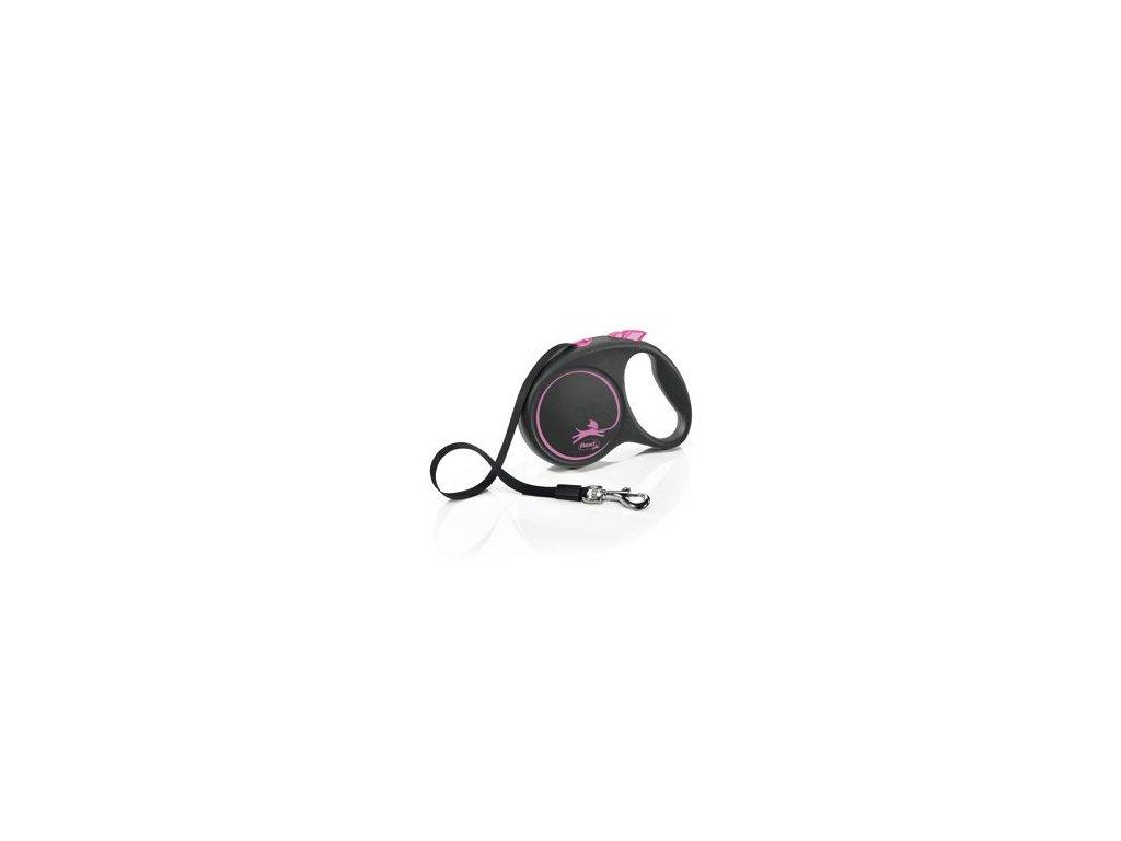 Vodítko FLEXI Black Design L pásek 5m/50kg růžová NEW
