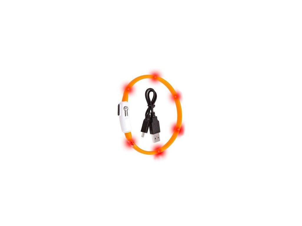 Obojek USB Visio Light 35cm oranžový KAR