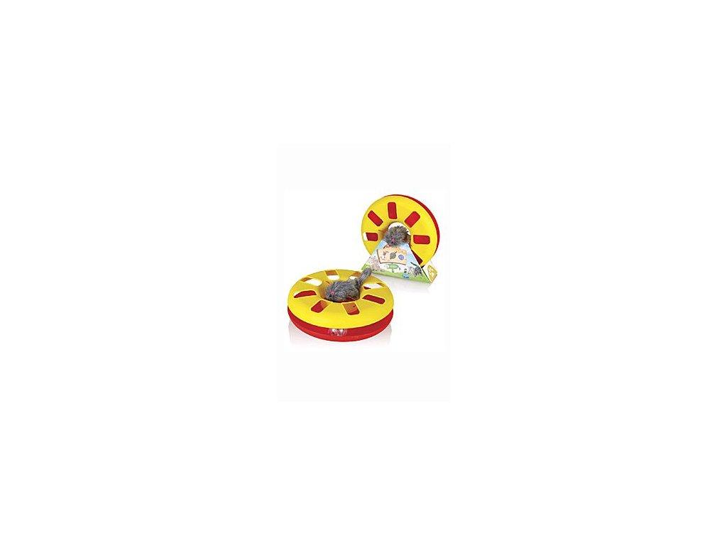 Hračka kočka Speedy ball s myškou na gumě