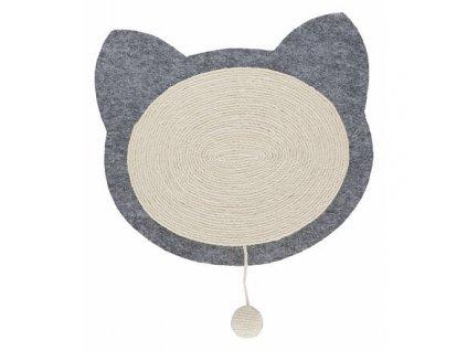 JUNIOR škrabací podložka s hračkou, tvar kočičí hlavy 40 x 35 cm přírodní/šedá
