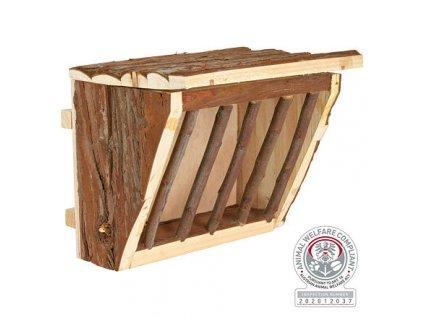 Dřevěné jesličky na seno s úchytem na klec 20 x 15 x 17 cm