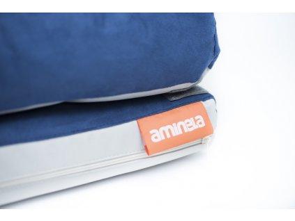 Aminela pelíšek s okrajem 100x70cm Half and Half modrá/světle šedá+ hračka ZDARMA