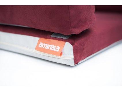 Aminela pelíšek s okrajem 100x70cm Half and Half červená/světle šedá + hračka ZDARMA