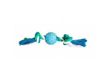 Bavlněný uzel HipHop s gumovým míčem 6 cm, 30 cm / 210 g zelená, modrá, bílá