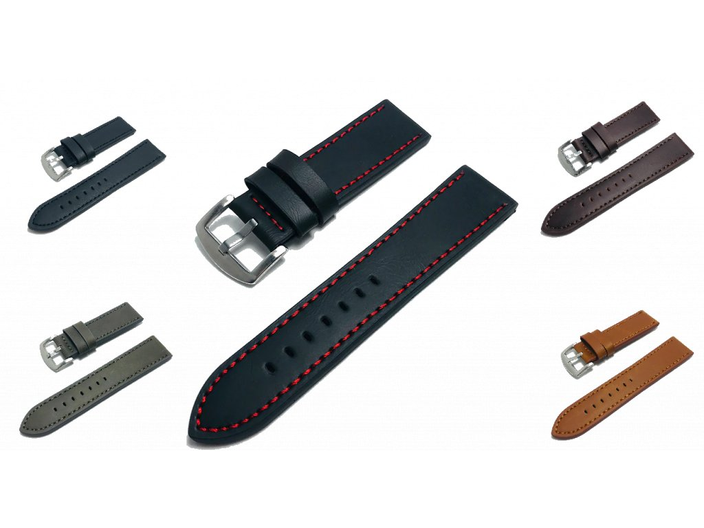 PU kožený řemínek pro chytré hodinky 22mm