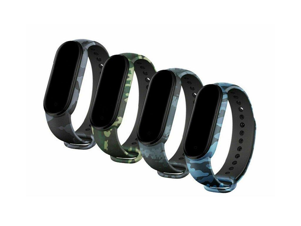 Maskáčový silikonový náramek pro Mi Band 5 kamufláž společné