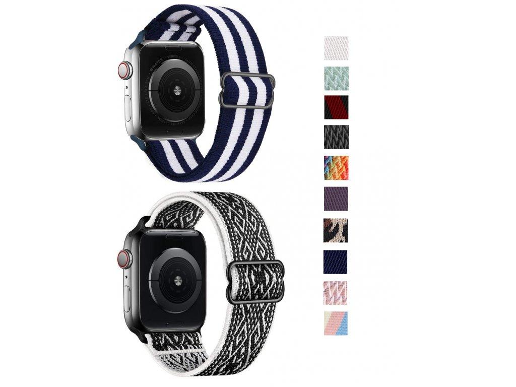 Nastavitelný nylonový elastický loop řemínek pro Apple Watch 38mm/40mm společné