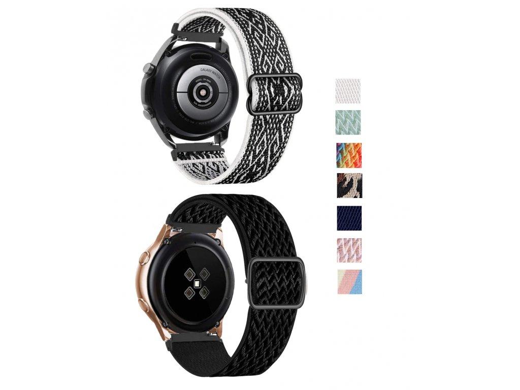 Nastavitelný nylonový elastický loop řemínek pro chytré hodinky 22mm společné
